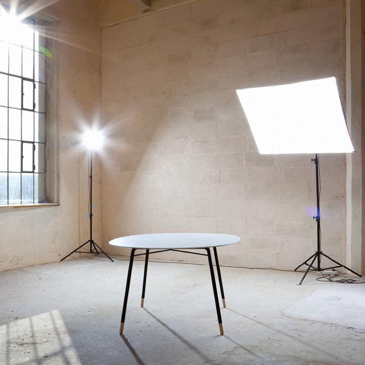 Table LCorian /metal /beech wood